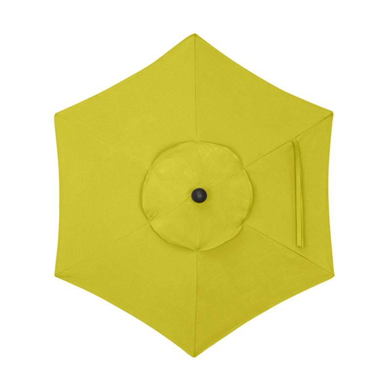 """Bright yellow canopy in fade- and mildew-resistant Sunbrella® acrylic blocks out 98% of the sun's rays. Fits our 6' round frames. For frame and stand options with this cover, see below (frames and stands sold separately).<br /><br /><NEWTAG/><ul><li>Cover: fade- and mildew-resistant Sunbrella acrylic umbrella (fits our 6' round frames; spot clean)</li><li>Frames (sold separately): aluminum tilt with black finish; 90""""H for dining table or 94""""H for high dining table</li><li>Stands (sold separately): rustproof poly resin and stone-polyester mixture, in charcoal finish</li><li>Small stand accommodates all our aluminum umbrella frames and 9' round eucalyptus frame</li><li>Use large stand with any of our umbrella frames: accommodates 1.5""""dia. frame with adapter, or 1.875""""dia. frame without adapter (adapter included)</li><li>Large stand works with a table or on its own</li><li>Made in USA</li></ul>"""