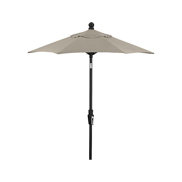 6' Round Sunbrella ® White Sand Umbrella with Tilt Black Frame