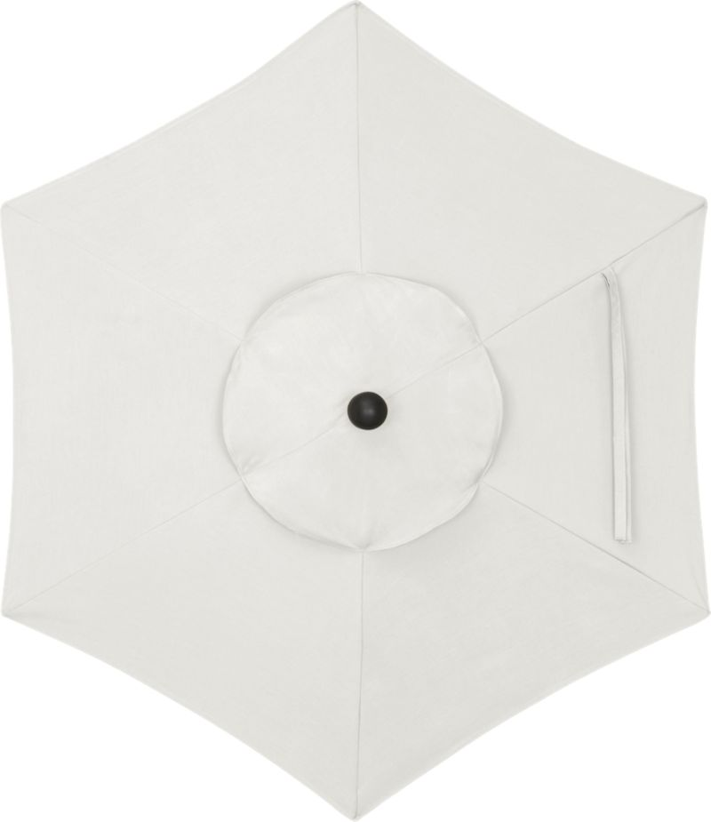 """A warm white sand canopy in fade- and mildew-resistant Sunbrella® acrylic blocks out 98% of the sun's rays. Fits our 6' round frames. For frame and stand options with this cover, see below (frames and stands sold separately).<br /><br /><NEWTAG/><ul><li>Cover: fade- and mildew-resistant Sunbrella acrylic umbrella (fits our 6' round frames; spot clean)</li><li>Frames (sold separately): aluminum tilt with black finish; 90""""H for dining table or 94""""H for high dining table</li><li>Stands (sold separately): rustproof poly resin and stone-polyester mixture, in charcoal finish</li><li>Small stand accommodates all our aluminum umbrella frames and 9' round eucalyptus frame</li><li>Use large stand with any of our umbrella frames: accommodates 1.5""""dia. frame with adapter, or 1.875""""dia. frame without adapter (adapter included)</li><li>Large stand works with a table or on its own</li><li>Made in USA</li></ul>"""