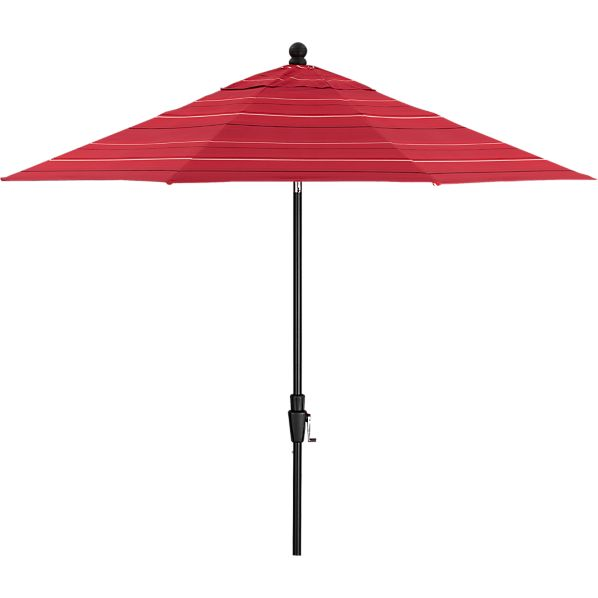 9' Round Sunbrella ® Red Tonal Stripe Umbrella with Black Frame