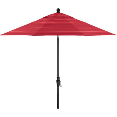 9 Round Sunbrella® Red Tonal Stripe Umbrella with Black Frame