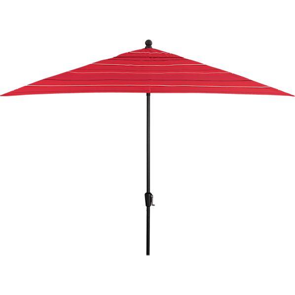 Rectangular Sunbrella ® Red Tonal Stripe Umbrella with Black Frame