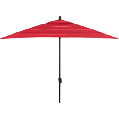 Rectangular Sunbrella® Red Tonal Stripe Umbrella with Black Frame
