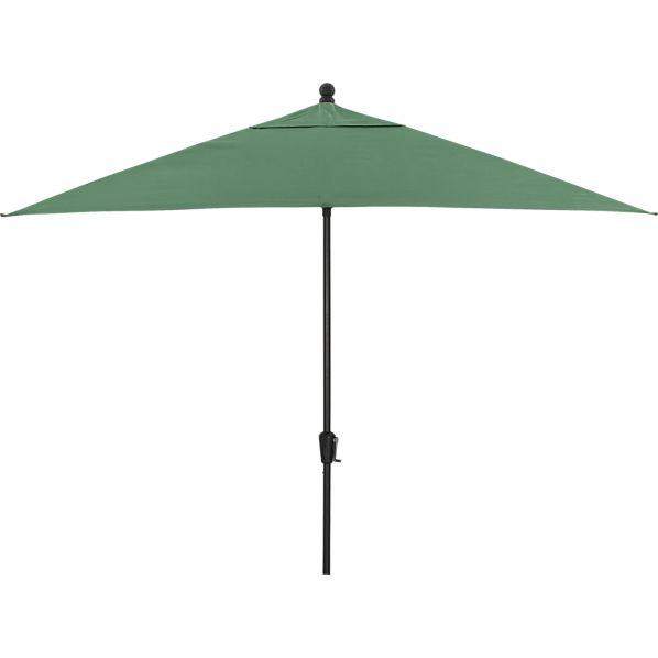 Rectangular Sunbrella ® Bottle Green Umbrella with Black Frame