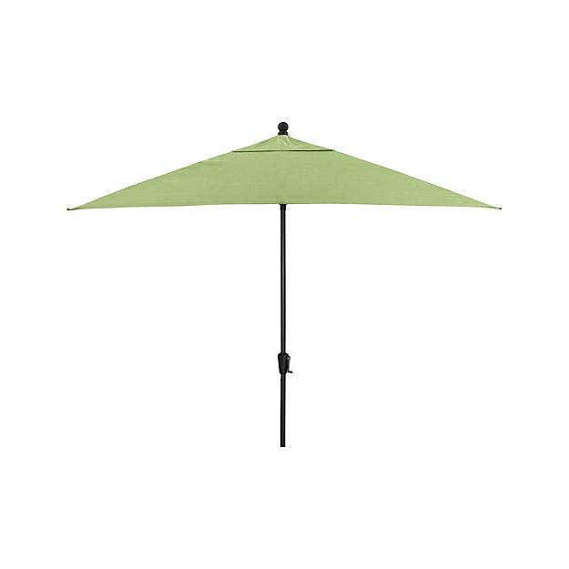 Rectangular sunbrella 174 kiwi patio umbrella with black frame crate and barrel