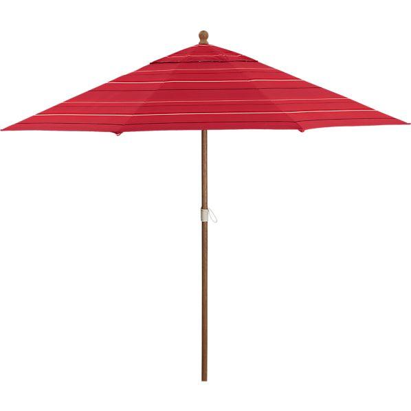 9' Round Sunbrella ® Red Tonal Stripe Umbrella with Eucalyptus Frame
