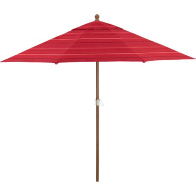 9 Round Sunbrella® Red Tonal Stripe Umbrella with Eucalyptus Frame