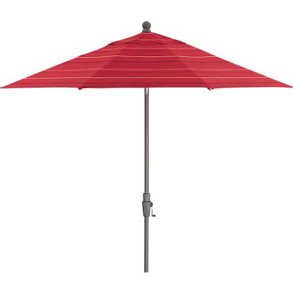 9' Round Sunbrella ® Red Tonal Stripe Umbrella with Silver Frame
