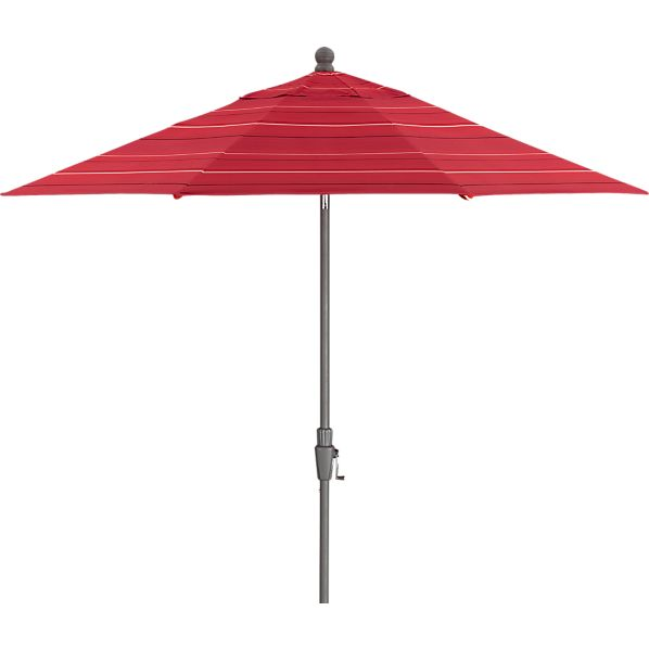 9' Round Sunbrella ® Red Tonal Stripe Umbrella with Silver Frame