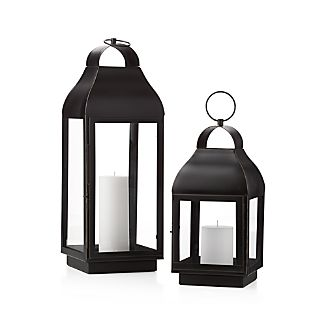 "Classic lantern shape features a warm bronze finish and large windowpanes for maximum illumination.Iron with bronze finishGlassAccommodates up to 4""-dia. pillar candle (sold separately)Wipe clean with damp clothFor indoor or outdoor useMade in India"