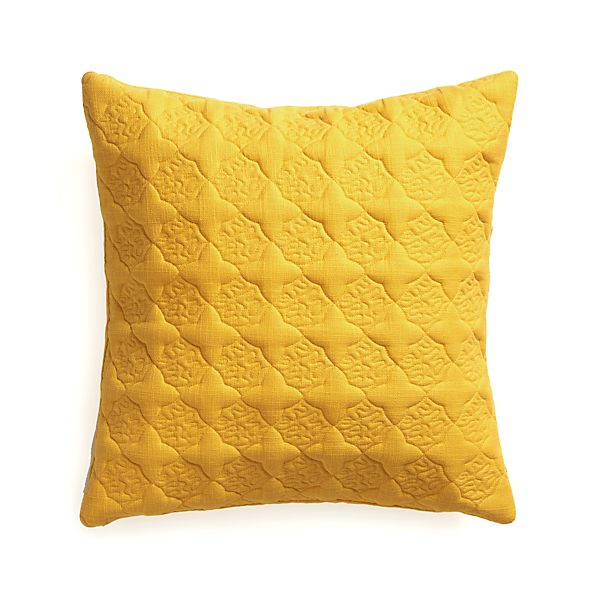 "Marvis Yellow 20"" Pillow with Feather Insert"