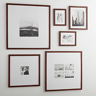 6-Piece Matte Brown Picture Frame Set