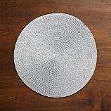 Matte Silver Glimmer Round Plastic Placemat