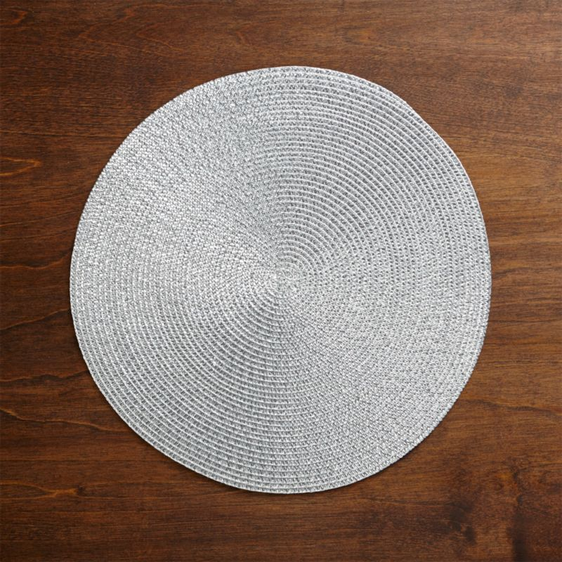 Matte Silver Glimmer Round Plastic Placemat