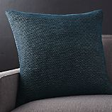 "Maura Midnight 23"" Blue Pillow with Feather-Down Insert"