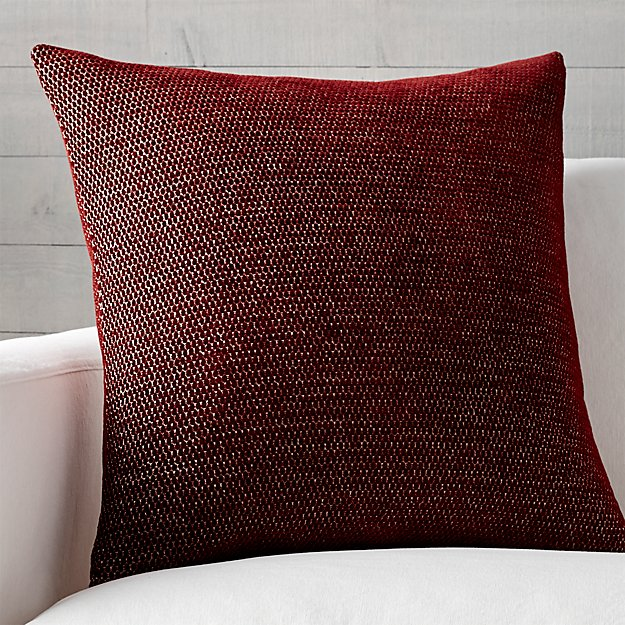 "Maura Red 23"" Pillow with Feather-Down Insert"
