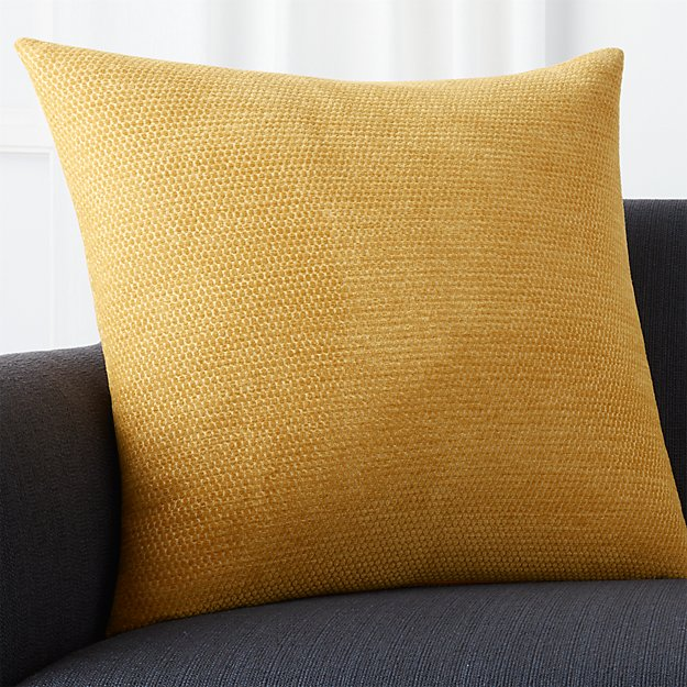 """Maura Yellow 23"""" Pillow with Feather-Down Insert"""