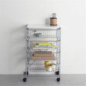 MAX Chrome Four-Drawer Cart with White...