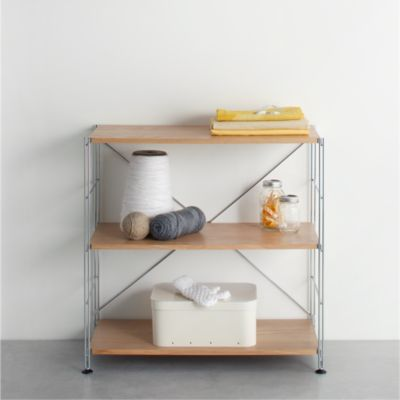 MAX Chrome 3-Shelf Unit with Wood Shelves
