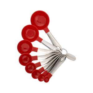 Set of 8 Stainless Steel and Red Nylon Measuring Spoons
