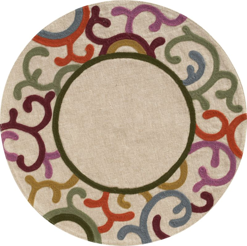 An artful round ringed with dynamic scrolling motif frames the plate in fashionable fall colors. Interlocking embroidery in acrylic wool yarn weaves depth and dimension on textural natural cotton chambray.<br /><br /><NEWTAG/><ul><li>100% cotton chambray</li><li>Acrylic wool yarn embroidery</li><li>Machine wash; warm iron as needed</li><li>Made in India</li></ul>