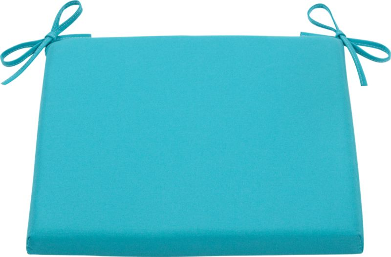 Civilized outdoor entertaining at an inviting price. Optional weather-resistant arm side chair cushion with tie closures is covered in bright aqua Sunbrella acrylic.<br /><br /><NEWTAG/><ul><li>Fade- and mildew-resistant Sunbrella solution-dyed acrylic</li><li>Water repellent</li><li>100% polyeurethane insert</li><li>Fabric tie closures</li></ul>