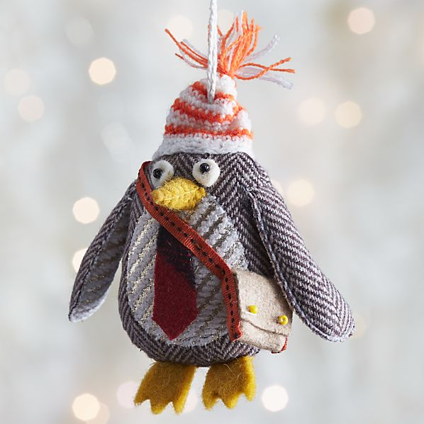 Menswear Penguin with Message Bag Ornament