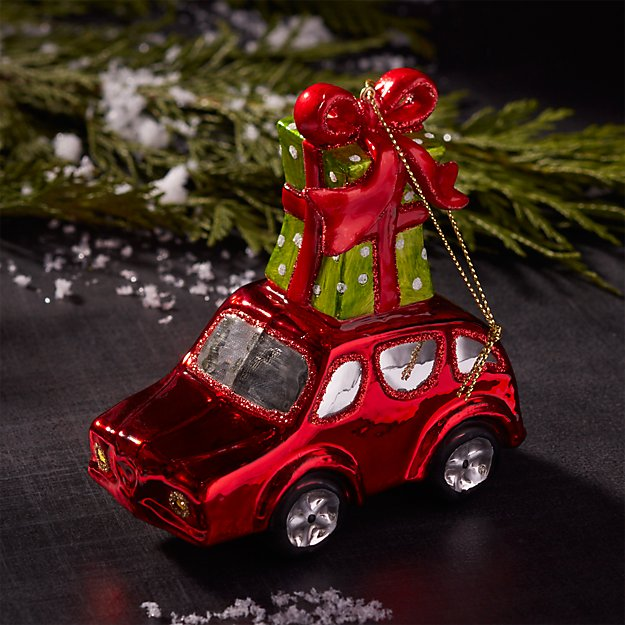 Mercury Glass Red Car with Gift Box Ornament
