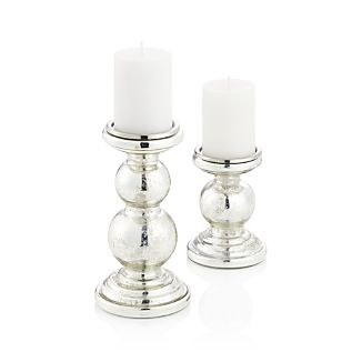 Silver Mercury Curved Pillar Candle Holders
