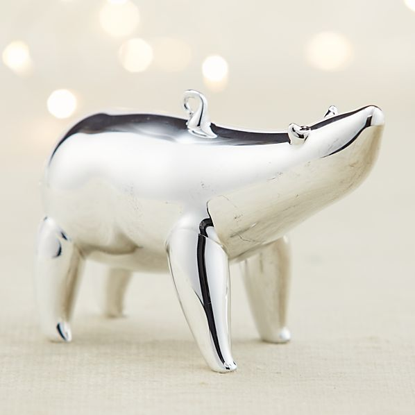 Mercury Glass Polar Bear Looking Up Ornament