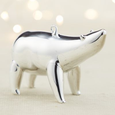 Mercury Glass Polar Bear Looking Up Ornament
