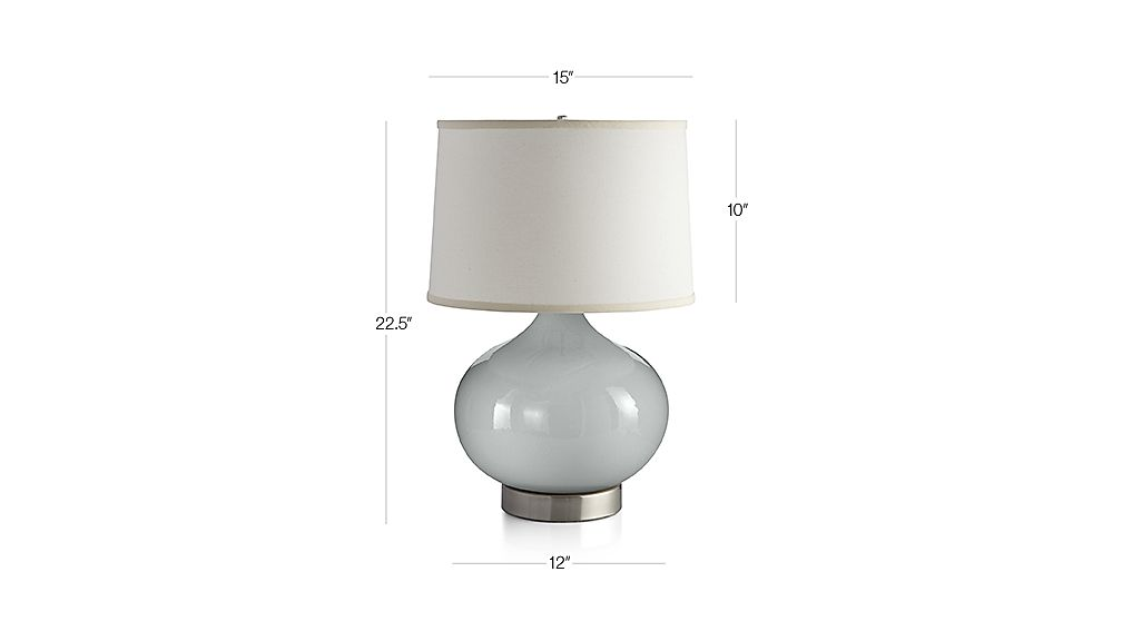 view dimensions for merie blue table lamp with nickel outlet base. Black Bedroom Furniture Sets. Home Design Ideas