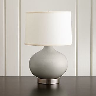 Merie Grey Table Lamp with Nickel Outlet Base
