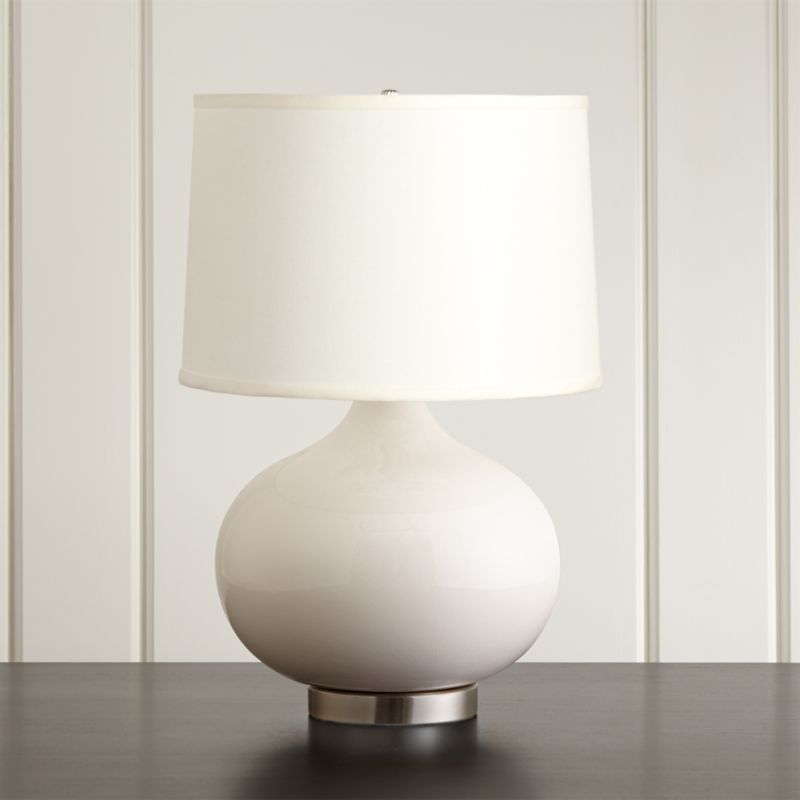 Merie Ivory Table Lamp with Nickel Base