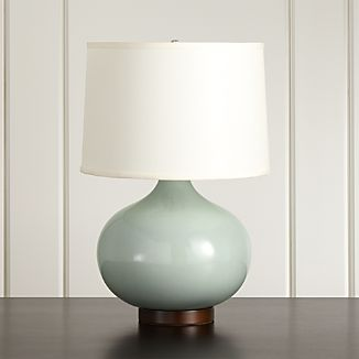 Merie Smoky Blue Table Lamp with Standard Bronze Base