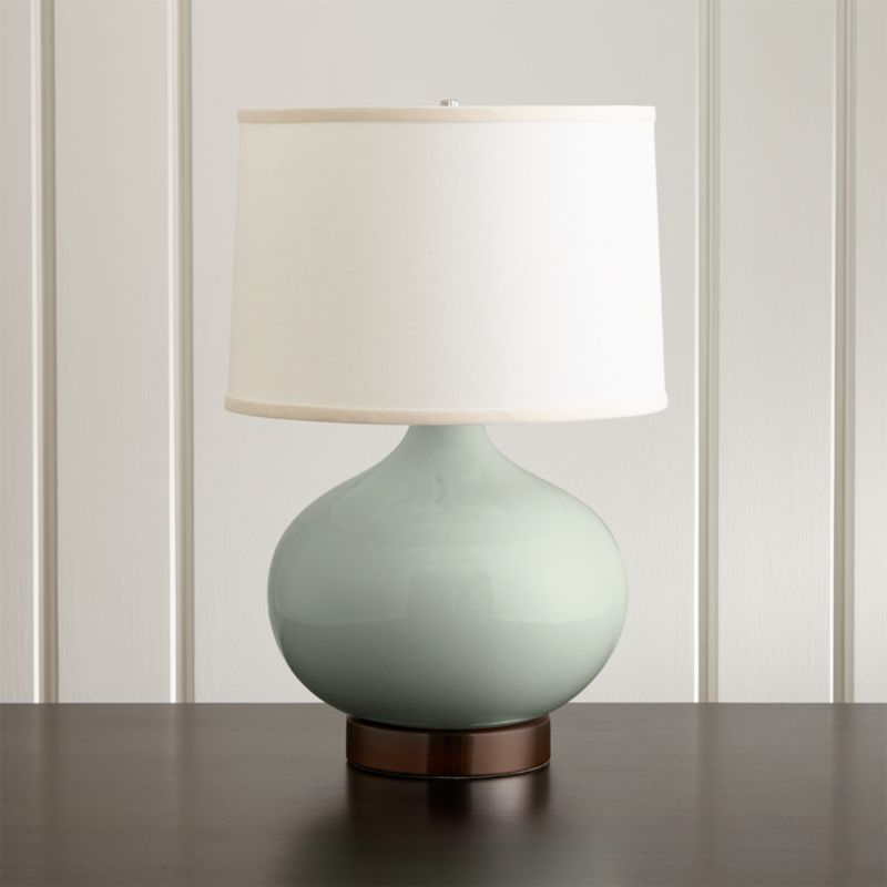 Merie Blue Table Lamp with Bronze Outlet Base