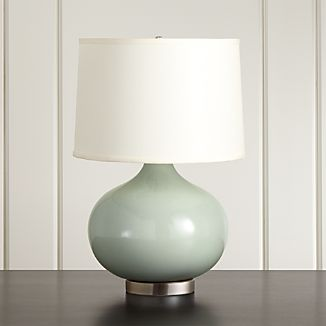 Merie Blue Table Lamp with Nickel Base