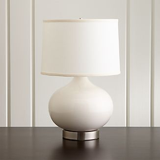 Merie Ivory Table Lamp with Outlet