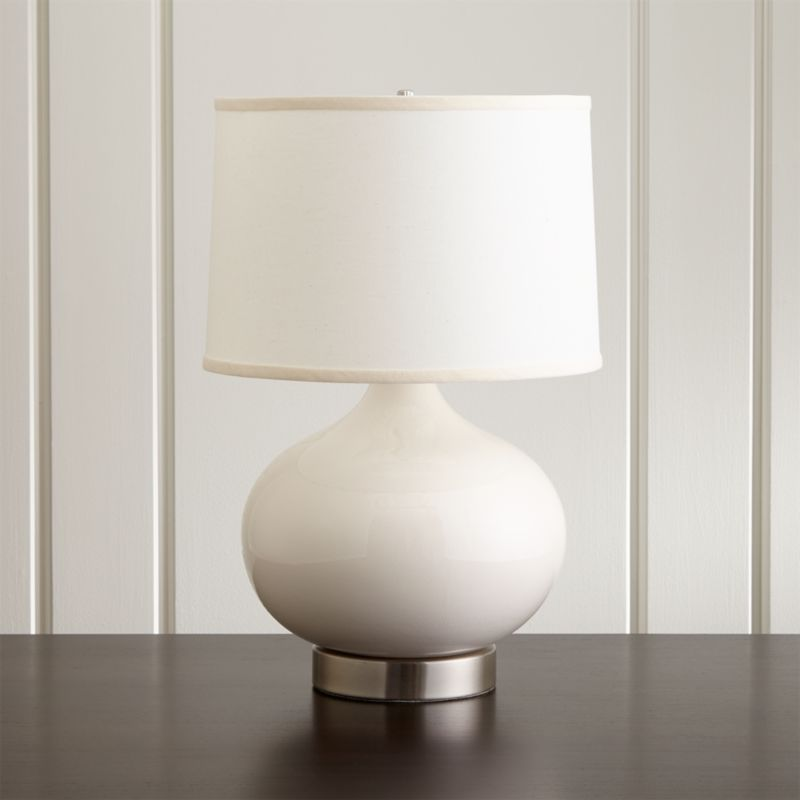 Merie Ivory Table Lamp with Outlet Nickel Base