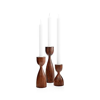 Merritt Short Solid Wood Taper Candle Holder