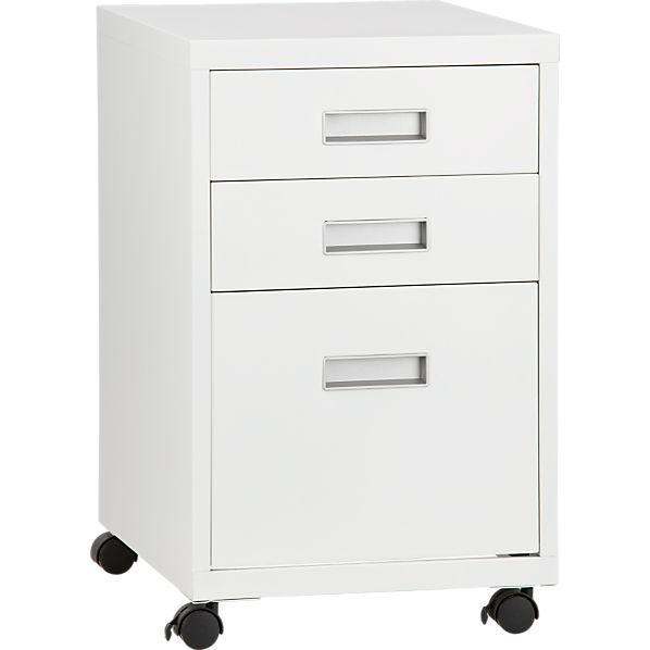 3-Drawer White Metal Cabinet