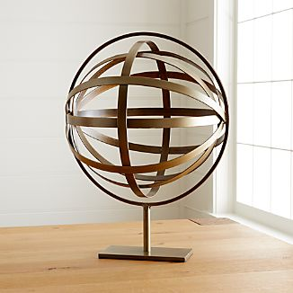 Metal Globe On Stand Sculpture