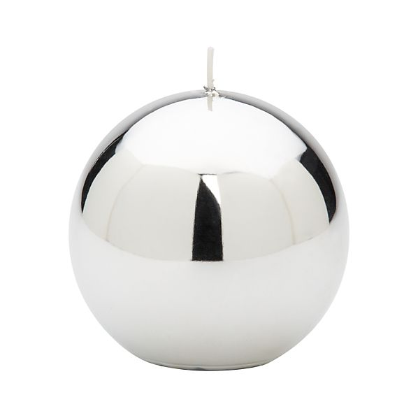 Metallic Silver Ball Candle