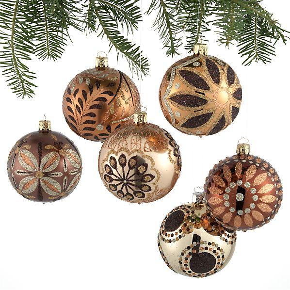 Set of 6 Metallic Deco Ball Ornaments