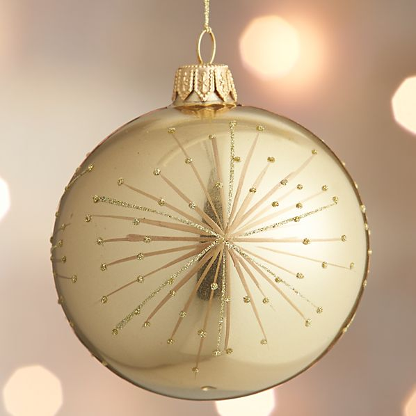 Gold Metallic Firework Ball Ornament