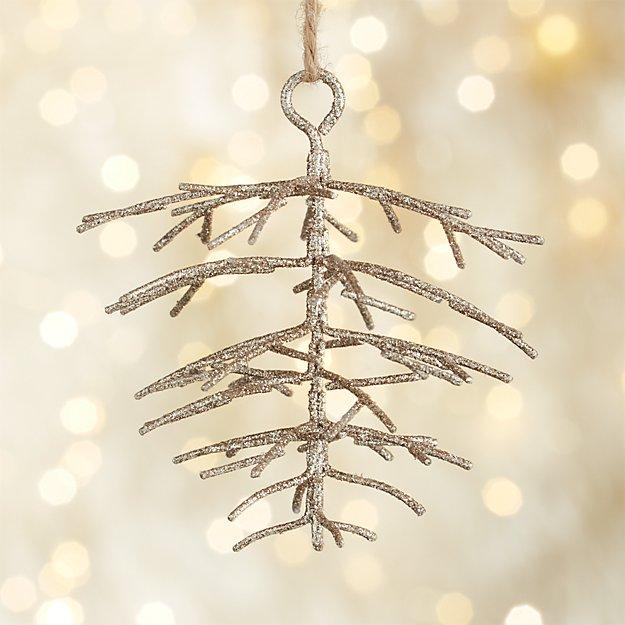 Metallic Glitter Pinecone Champagne Gold Ornament