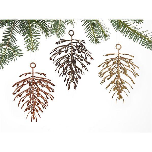 Set of 3 Metallic Pinecone Ornaments