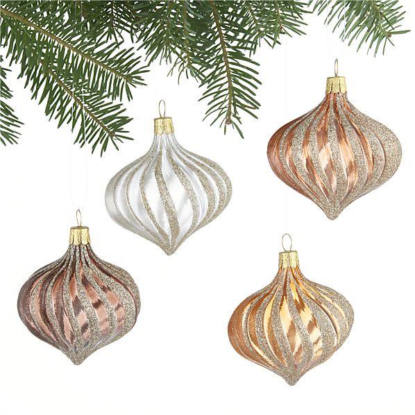 Set of 4 Metallic Ribbon Glitter Drop Ornaments