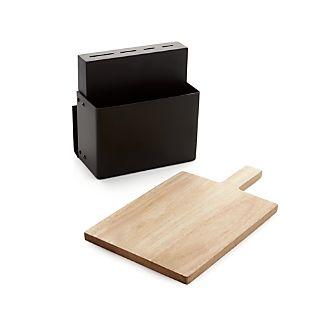 Metro Black Knife Block and Cutting Board Set