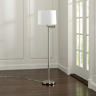 Metro II Brushed Nickel Swing Arm Floor Lamp